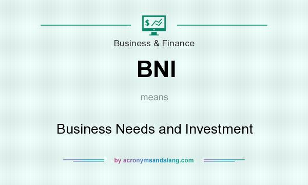 What does BNI mean? It stands for Business Needs and Investment