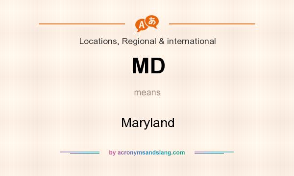 What does MD mean? It stands for Maryland