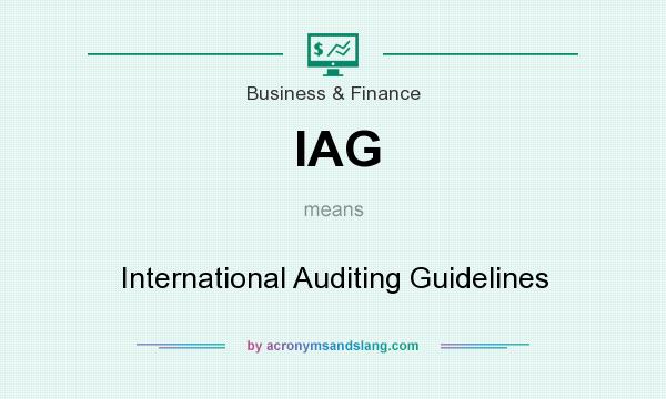 What does IAG mean? It stands for International Auditing Guidelines