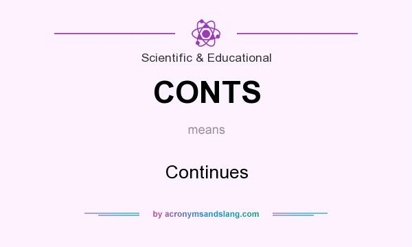 What does CONTS mean? It stands for Continues