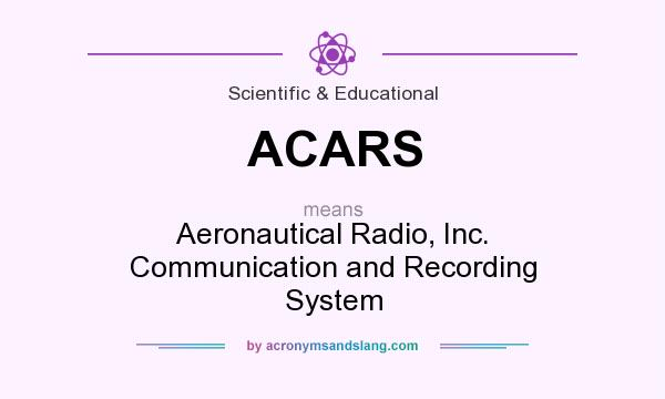What does ACARS mean? It stands for Aeronautical Radio, Inc. Communication and Recording System