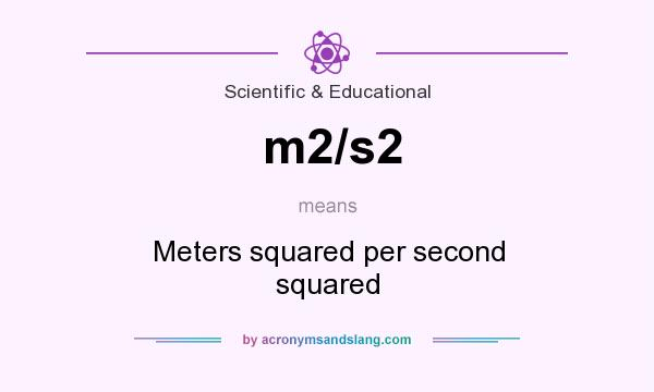What does m2/s2 mean? It stands for Meters squared per second squared