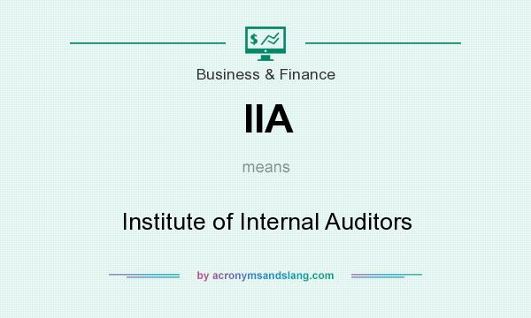 What does IIA mean? It stands for Institute of Internal Auditors