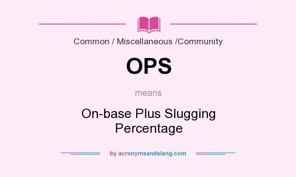 What does OPS mean? It stands for On-base Plus Slugging Percentage