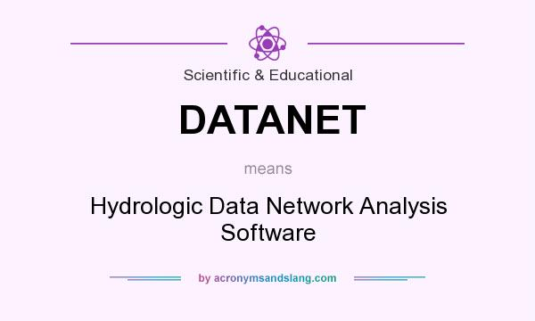 What does DATANET mean? It stands for Hydrologic Data Network Analysis Software