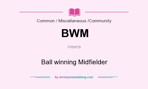 What does BWM mean? It stands for Ball winning Midfielder
