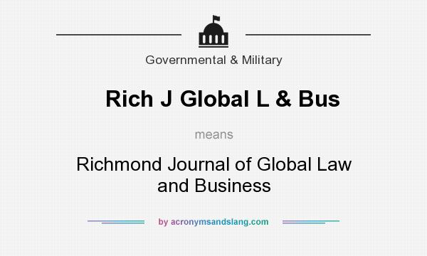 What does Rich J Global L & Bus mean? It stands for Richmond Journal of Global Law and Business