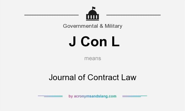 What does J Con L mean? It stands for Journal of Contract Law