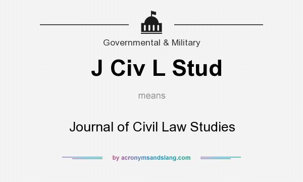 What does J Civ L Stud mean? It stands for Journal of Civil Law Studies
