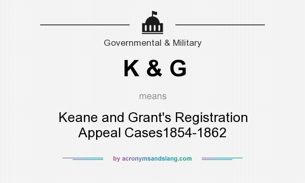 What does K & G mean? It stands for Keane and Grant`s Registration Appeal Cases1854-1862