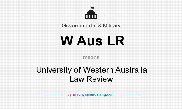 What does W Aus LR mean? It stands for University of Western Australia Law Review