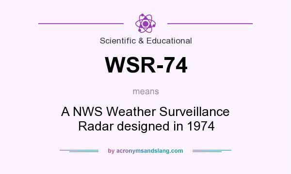 What does WSR-74 mean? It stands for A NWS Weather Surveillance Radar designed in 1974
