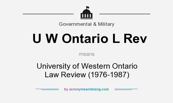 What does U W Ontario L Rev mean? It stands for University of Western Ontario Law Review (1976-1987)