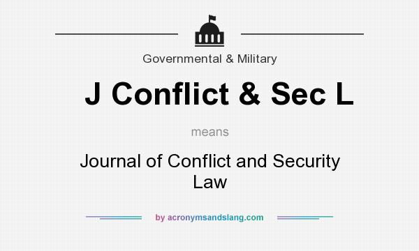 What does J Conflict & Sec L mean? It stands for Journal of Conflict and Security Law