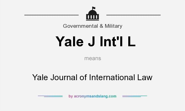 What does Yale J Int`l L mean? It stands for Yale Journal of International Law