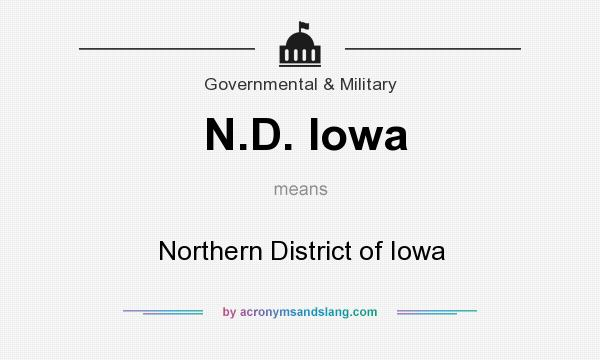 What does N.D. Iowa mean? It stands for Northern District of Iowa