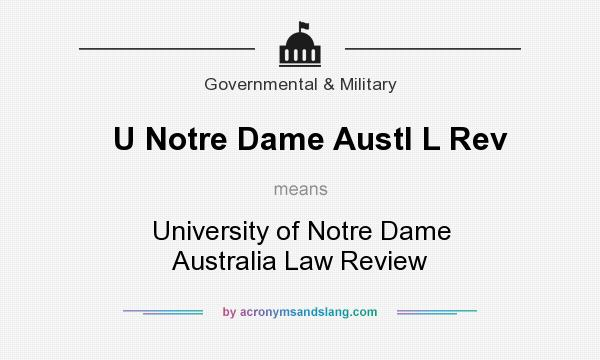 What does U Notre Dame Austl L Rev mean? It stands for University of Notre Dame Australia Law Review