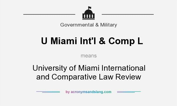 What does U Miami Int`l & Comp L mean? It stands for University of Miami International and Comparative Law Review