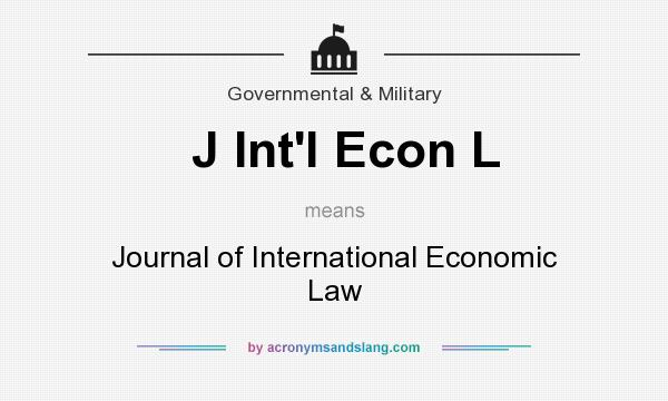 What does J Int`l Econ L mean? It stands for Journal of International Economic Law