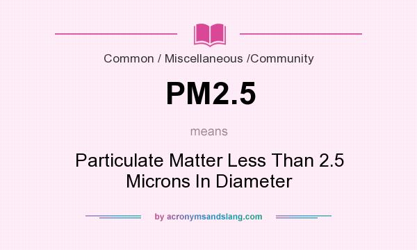 What does PM2.5 mean? It stands for Particulate Matter Less Than 2.5 Microns In Diameter