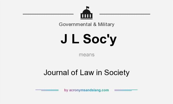 What does J L Soc`y mean? It stands for Journal of Law in Society