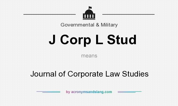 What does J Corp L Stud mean? It stands for Journal of Corporate Law Studies