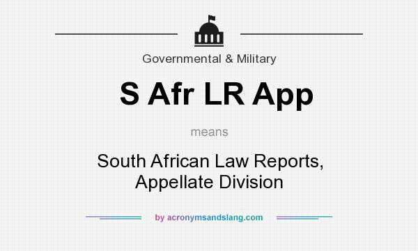 What does S Afr LR App mean? It stands for South African Law Reports, Appellate Division