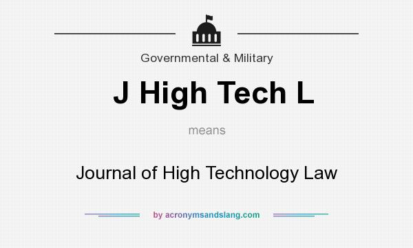 What does J High Tech L mean? It stands for Journal of High Technology Law
