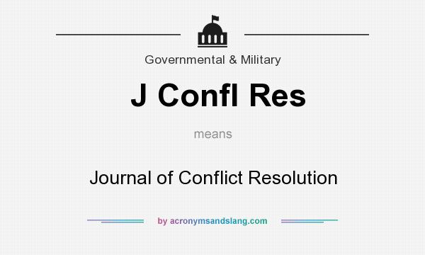 What does J Confl Res mean? It stands for Journal of Conflict Resolution