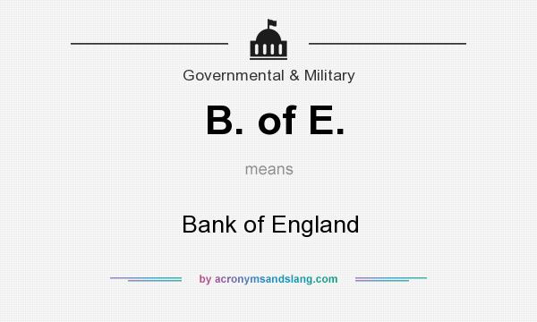 What does B. of E. mean? It stands for Bank of England