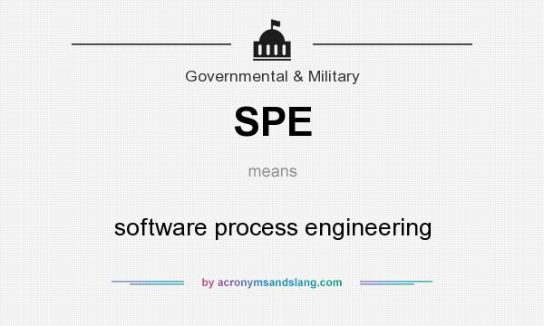 What does SPE mean? It stands for software process engineering