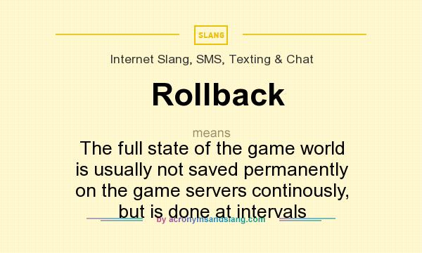 What does Rollback mean? It stands for The full state of the game world is usually not saved permanently on the game servers continously, but is done at intervals