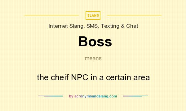 What does Boss mean? It stands for the cheif NPC in a certain area