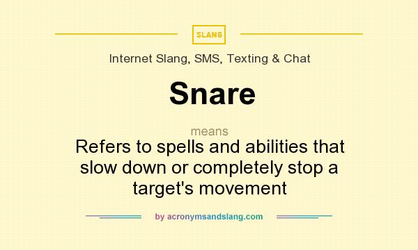 What does Snare mean? It stands for Refers to spells and abilities that slow down or completely stop a target`s movement