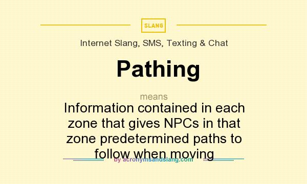 What does Pathing mean? It stands for Information contained in each zone that gives NPCs in that zone predetermined paths to follow when moving
