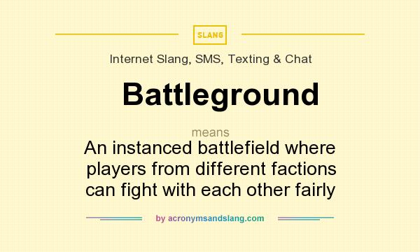 What does Battleground mean? It stands for An instanced battlefield where players from different factions can fight with each other fairly