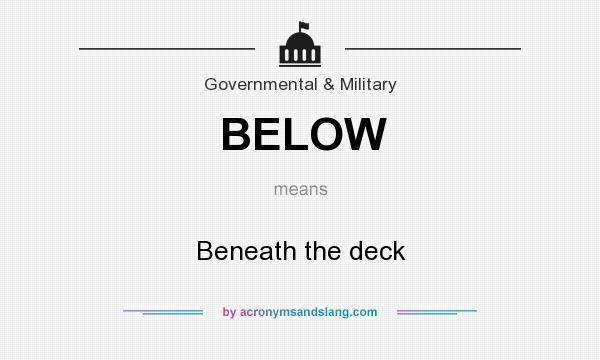 What does BELOW mean? It stands for Beneath the deck