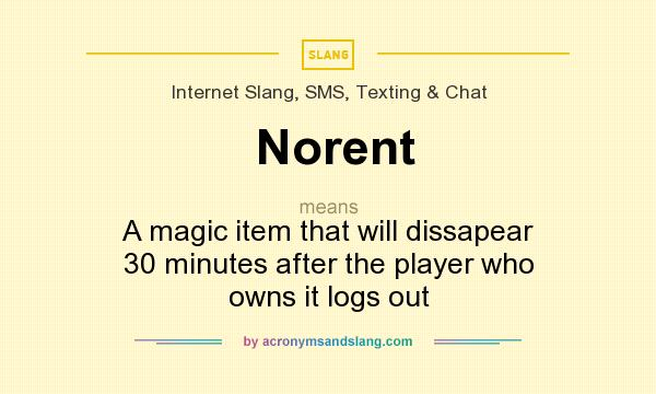 What does Norent mean? It stands for A magic item that will dissapear 30 minutes after the player who owns it logs out