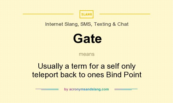 What does Gate mean? It stands for Usually a term for a self only teleport back to ones Bind Point