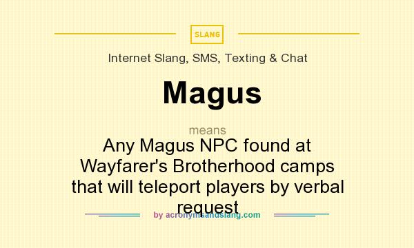 What does Magus mean? It stands for Any Magus NPC found at Wayfarer`s Brotherhood camps that will teleport players by verbal request