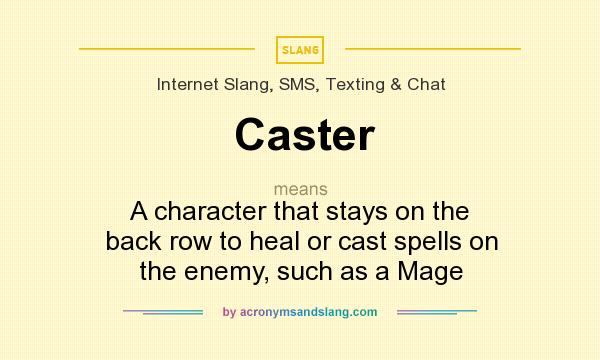 What does Caster mean? It stands for A character that stays on the back row to heal or cast spells on the enemy, such as a Mage