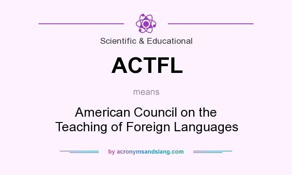 What does ACTFL mean? It stands for American Council on the Teaching of Foreign Languages