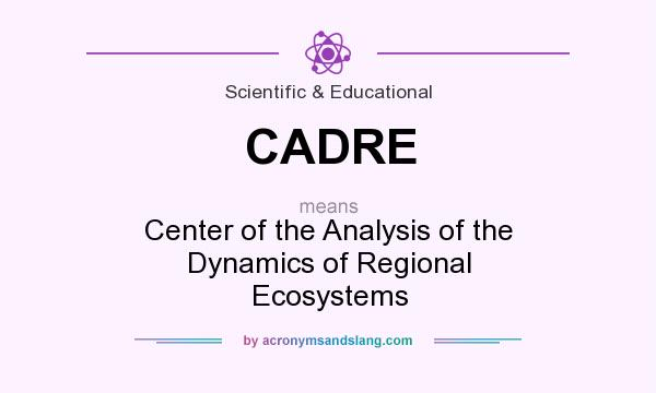 What does CADRE mean? It stands for Center of the Analysis of the Dynamics of Regional Ecosystems