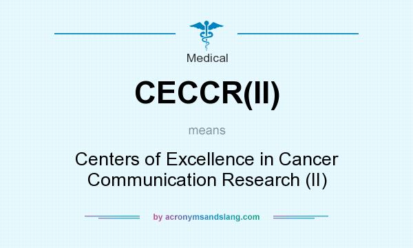 What does CECCR(II) mean? It stands for Centers of Excellence in Cancer Communication Research (II)