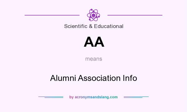 What does AA mean? It stands for Alumni Association Info