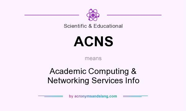 What does ACNS mean? It stands for Academic Computing & Networking Services Info