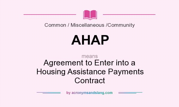 Ahap Agreement To Enter Into A Housing Assistance Payments