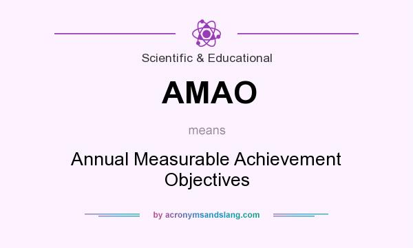 What does AMAO mean? It stands for Annual Measurable Achievement Objectives