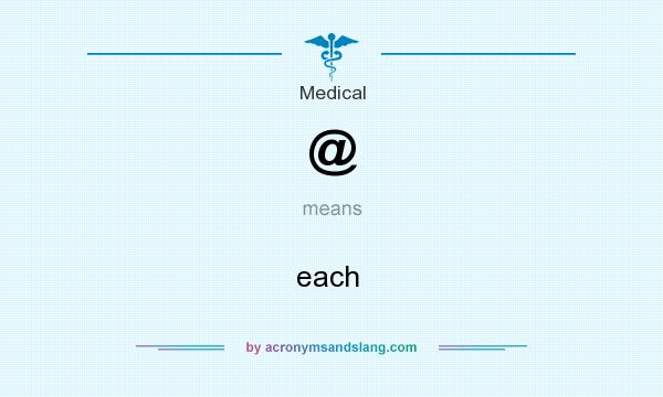What does @ mean? It stands for each