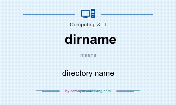 What does dirname mean? It stands for directory name